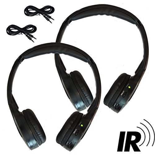 [2 Pack] 2 Channel KID SIZE Universal IR Infrared Wireless or Wired Car Headphones Autotain Cloud (Wireless Channel Headphones Ir Dual)