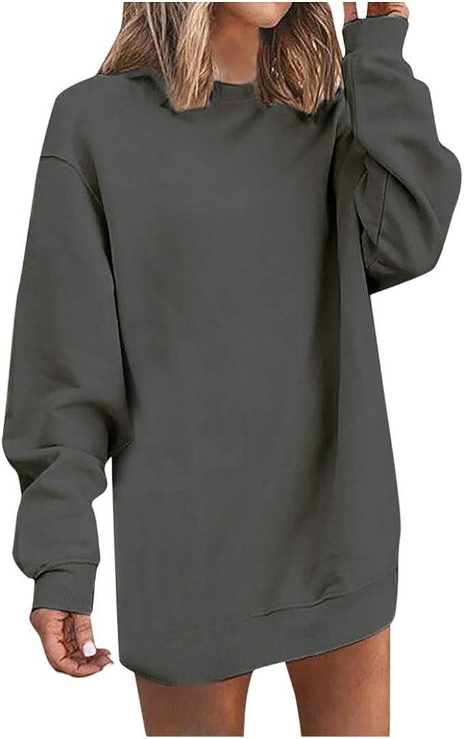 XVSSAA Womens Fashion Long Sleeve Midi Dress Round Neck Dress Ladies Autumn New Mini Short Jumper Guard Dress