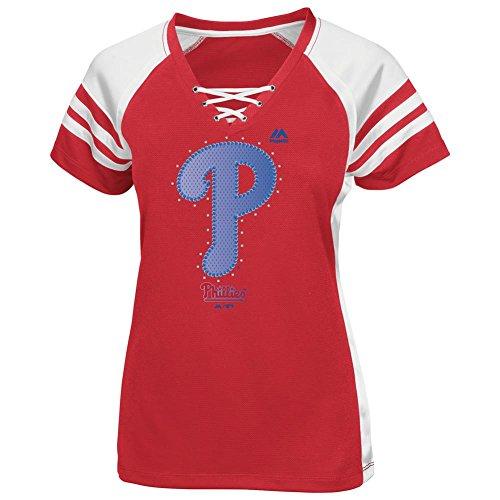 Women's Majestic Fitted Philadelphia Phillies Jersey Tee (L)