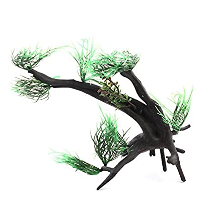 eDealMax Resina acuario pecera de emulación de agua Paisaje decoración Vegetal Gris