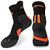Men's Quarter Socks in Coolmax Material Hand Linded Seamless Toe for Sports Hiking Walking Running (Orange 1pair)