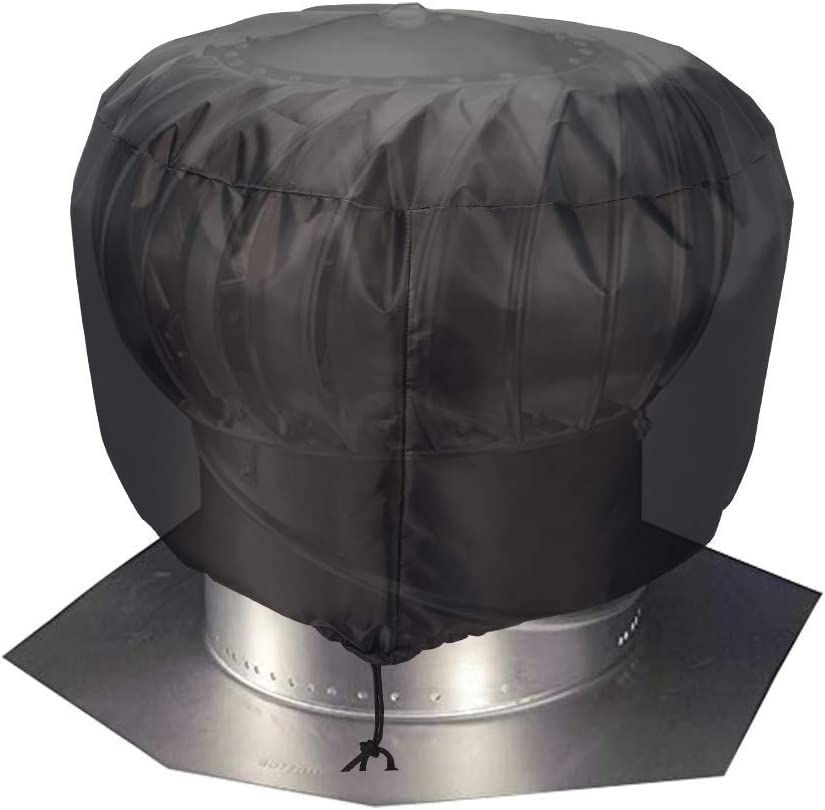 "Turbine Roof Vent Cover, Heavy Duty Turbine Ventilator Protector Shield, Waterproof 1680D Oxford Fabric, Adjustable Drawstring Design, Year Around Protection for Your Roof Vent (S: 12"" x 17.5"")"