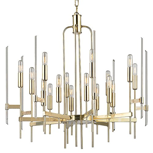 Hudson Valley Lighting 9916-AGB Bari 16-Light Chandelier - Finish with Clear Glass Shade, 30