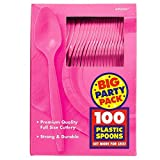 Bright Pink Big Party Pack - Spoons (100 count)