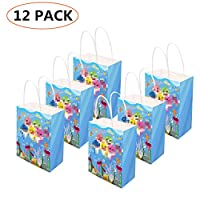 12 PCS Cute Shark Gift Bags - Cute Shark Favor Bags For Children Birthday Party Supplies,Dress Up Novelty Decorations