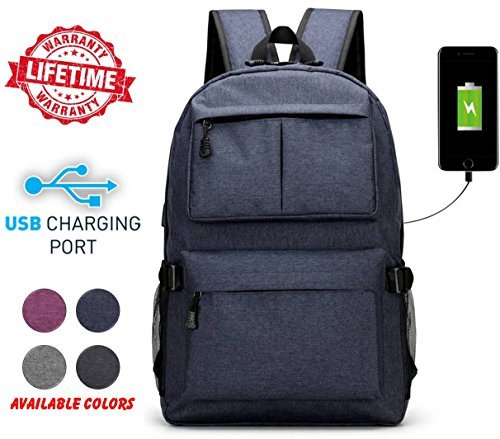 SG DREAMZ High School College Unisex Outdoor Heavy Duty Laptop Backpack Bag Charging USB Port Running, Hiking, Sports, Jungle, Camping, Cycling & Fishing, Men & Women (Blue) from SG DREAMZ
