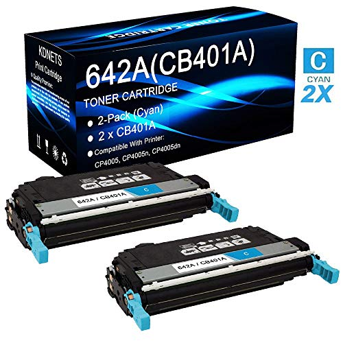 2-Pack (Cyan) Compatible Color Laserjet CP4005 CP4005n CP4005dn Printer Toner Cartridge High Yield Replacement for HP 642A CB401A Laser Toner Cartridge, by KDNETS ()