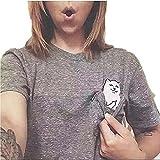 Women T Shirt Middle Finger Cat Pocket Shirts Harajuku Short Sleeve Crop Top Tee (X-Small, A-Grey)