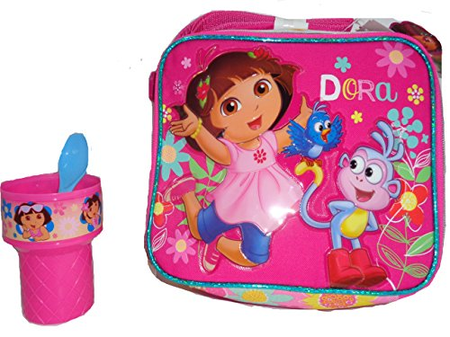 Dora Insulated Lunch Tote and Ice Cream Cup with spoon