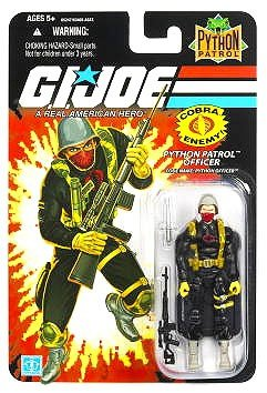 G.I. Joe - 2007 - Hasbro - 25th Anniversary - Cobra Enemy - Python Patrol Officer - Code Name: Python Officer Action Figure - w/ Base & Accessories - Python - Base Python