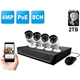 Home Business Video Security Camera System Wired, w/4 Bullet Super HD 1440P Waterproof Outdoor Indoor PoE IP Cameras and 1 PC of 8-Channel 4MP NVR Kit with Built-in 2 TB HDD, Reolink RLK8-410B4