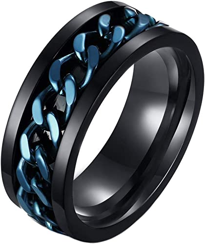 Men/'s Stainless Steel 316L Black Link Chain Stripe Spinner Ring and Band