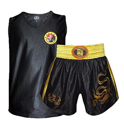 ZooBoo Adult Unisex Muay Thai Boxing Shorts Suit MMA Kick Boxing Uniform with Embroidered Dragon Fighting Uniforms (150, Black) ()