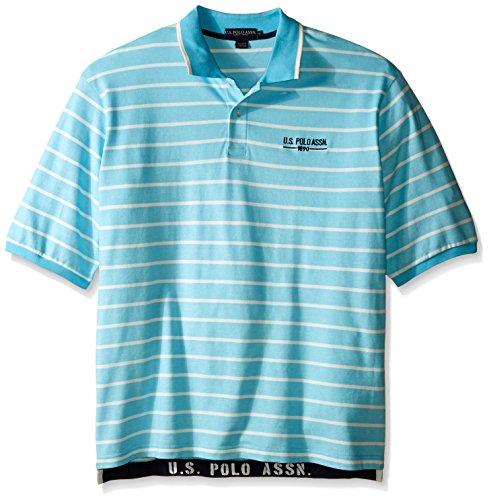 U.S. Polo Assn.. Men's Big-Tall Embellished Pencil Stripe Polo Shirt, Swimming Blue, ()