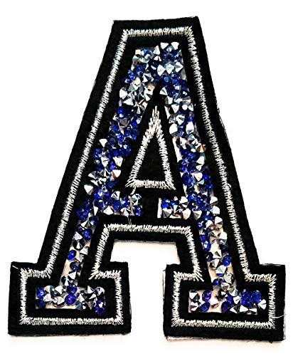 Letter A Patch Blue Crystal Diamond Patch Embroidery Letters A-Z Sew Iron On Patch Badge Bags Hat Cap Jeans Applique Patch for Study School Student or Birthday Gift (Blue Crystal Letter A)
