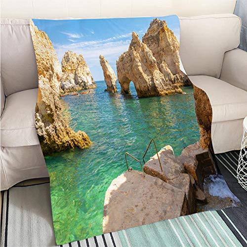 BEICICI Art Design Photos Cool Quilt Beautiful Cliff Ponta da Piedade in Lagos Algarve Portugal Sofa Bed or Bed 3D Printing Cool Quilt