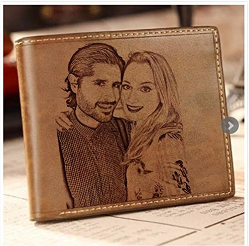 custom Brown Classic wallet photo practical fashion folding wallet Side men's father's Double gift day wrqrxtA