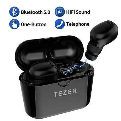 TEZER Headset Auriculares Bluetooth V5.0 Sport, reducción de Ruido CVC 6.0 para iPhone