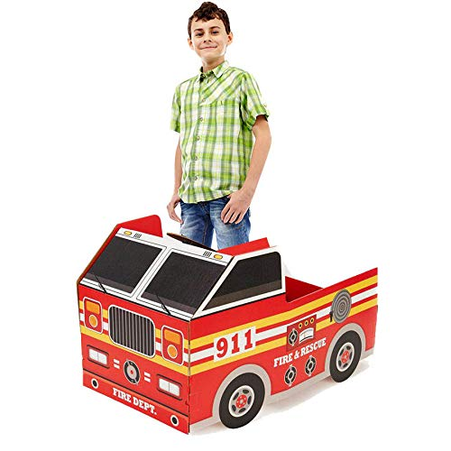 Fireman Fire Engine Room Decorations - Fire Truck Cardboard Stand in Photo -