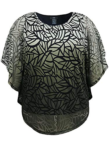(LEEBE Women's Plus Size Double-Layered Burnout Poncho Top (S-3X) (5X, Olive))
