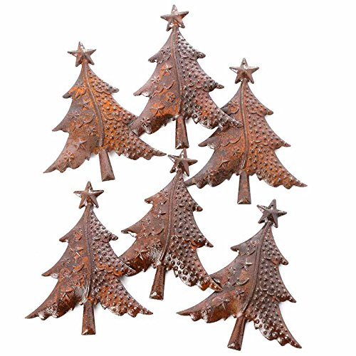 Factory Direct Craft Package of 6 Beautifully Crafted Rusty Tin Christmas Trees for Crafting, Creating and Embellishing