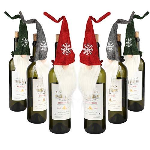 Aytai 6pcs Felt Christmas Gnomes Wine Bottle Topper Cover, Handmade Swedish Tomte Decorative Wine Bottle Toppers Dress for Holiday Gift Christmas Decorations