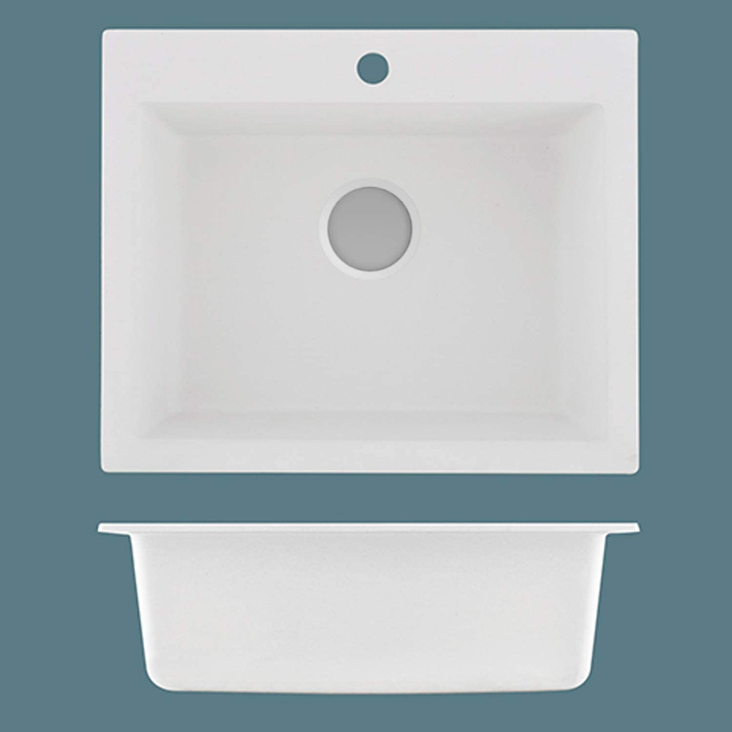 Commercial Quartz Stone Single Bowl Kitchen Sink 23 x 19 inch Topmount Drop-in Prep Bar Sink with 1-Hole, White