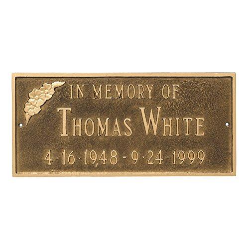Montague Metal PCS-0095S2-W-ABG Memorial Plaque with Flower, 7.25