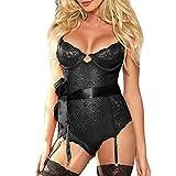 Womens Sleepwear Sexy Plus Size Garter Dolls Conjoined Intimate Underwear Set Black