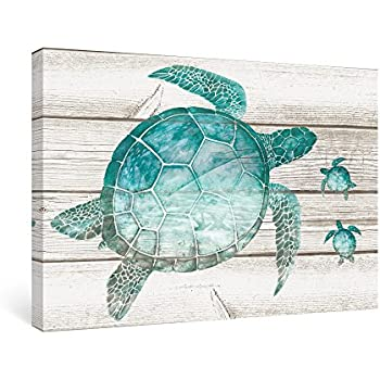 Exceptionnel SUMGAR Wall Art For Bathroom Green Sea Turtle Wall Decor Vintage Paintings  On Canvas Framed Prints