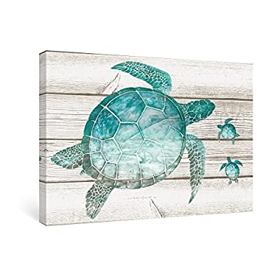 SUMGAR Wall Art for Bathroom Green Sea Turtle Wall Decor Vintage Paintings on Canvas Framed Prints Ready to hang,16''x24'' - DOUBLE STRENGTHENING TECHNOLOGY: the back is both nailed and sealed with white masking tape. STRETCHED BY HAND:Hand-stretch each canvas to perfection and ensure the corners are perfectly folded and tucked. STURDY CANVAS FRAME:1.2'' thick wood bars and it is not easy to deformation. - wall-art, living-room-decor, living-room - 51%2BUeUj11TL. SS400  -