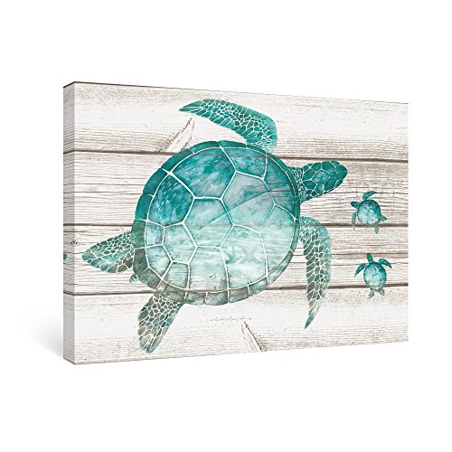 SUMGAR Canvas Wall Art Bathroom Teal Wall Decor Ocean Pictures Coastal Paintings Artwork Sea Turtle 16x24 - Clock Turtle Sea