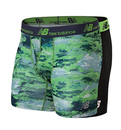 New Balance Mens Dry Fresh Boxer Brief 2-Pack, Black/Energy Lime Print, Medium (32-34