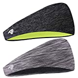 COOLOO 2 Pack Mens Headband, 2 Pack Guys Sweatband Sports Headband for Men Women Unisex, Performance Stretch & Moisture Wicking for Running Work Out Gym Tennis Basketball