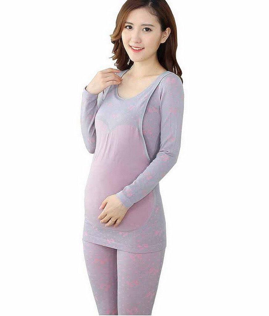 Evedaily Umstandsmode Thermounterwäsche Set für Schwangere -8 Farben zur Auswahl