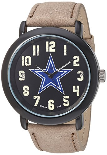 (Game Time Men's 'Throwback' Quartz Metal and Leather Casual Watch, Color:Beige (Model: NFL-TBK-DAL))