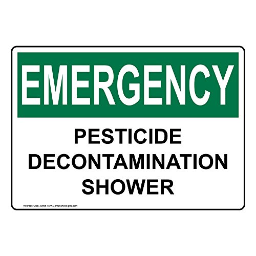 Emergency Pesticide Decontamination Shower OSHA Safety Label Decal, 5x3.5 in. Vinyl 4-Pack by ComplianceSigns