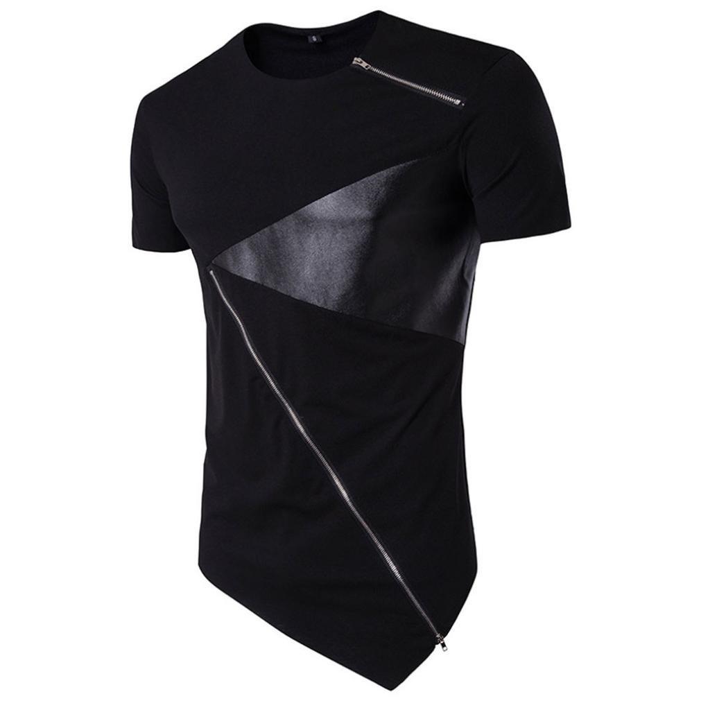 Hiroo Shirt da Uomo Irregolare Maglietta A Maniche Corte Uomo in Cotone Camicetta Slim Fit T-Shirt Girocollo Estate in Alto Palestra T-Shirt Cotone Slim Fitness Lo Sport Casual
