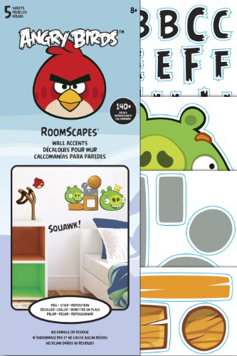 Sandylion Angry Birds Roomscape Mini Wall Accent Stickers, 6 by 10-Inch