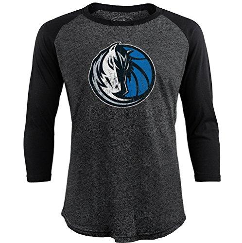 fan products of NBA Dallas Mavericks Men's Premium Triblend 3/4 Sleeve Raglan, X-Large, Black