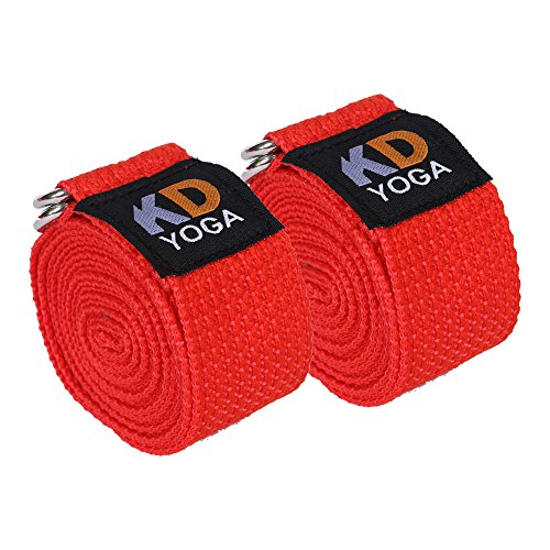 KD Yoga Fitness Exercise Strap Pack of 2 Orange Rectengular-Ring 8ft for Stretching, Dance, Pilates and Physical Therapy Adjustable Buckle D Ring Buckle Yoga Belt Durable Cotton Exercise Straps