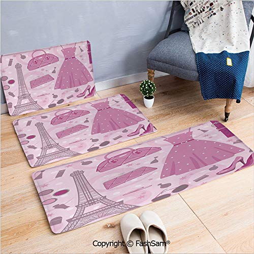 3 Piece Flannel Bath Carpet Non Slip Paris Fashion Atelier French Boutique Feminine Glamor Eiffel Decorative Front Door Mats Rugs for Home(W15.7xL23.6 by W19.6xL31.5 by -