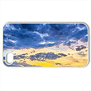 agricultural field in indiana at sunset - Case Cover for iPhone 4 and 4s (Fields Series, Watercolor style, White)