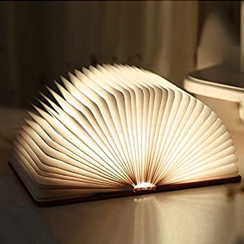 Wooden foldable led book light ledgle usb rechargeable for Lampe de chevet rechargeable