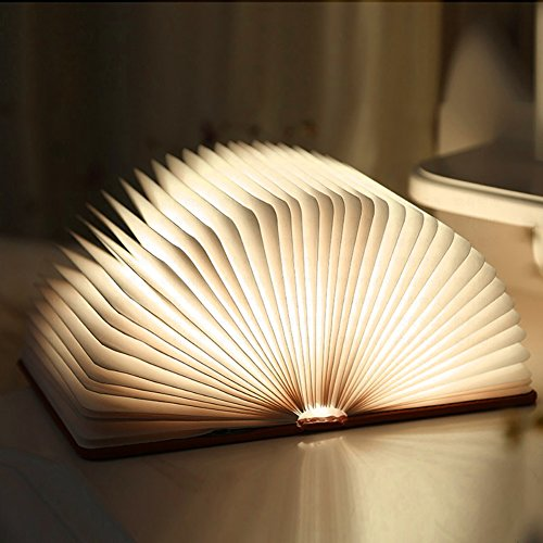 Wooden Foldable LED Book Light, Ledgle USB Rechargeable Creative Night Light Bedside Lamp Table Decorating Lamp Best Gift Light (WarmWhite)