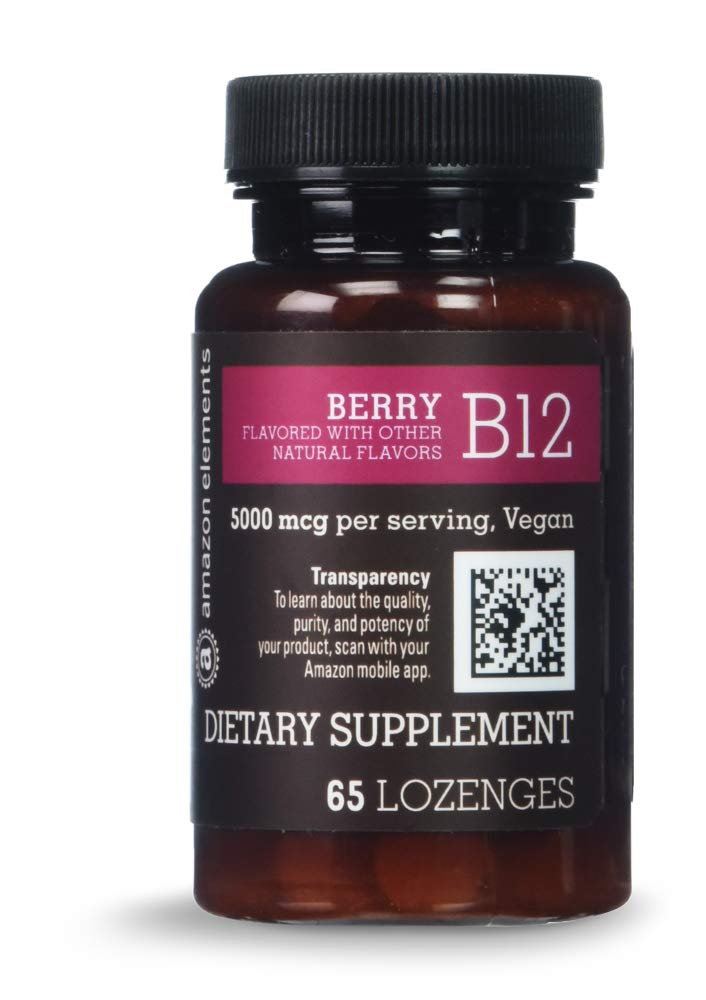Amazon Elements Vitamin B12 Methylcobalamin 5000 mcg - Normal Energy Production and Metabolism, Immune System Support - 2 Month Supply (65 Berry Flavored Lozenges) by AMAZON ELEMENTS
