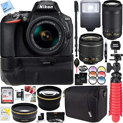 Nikon D5600 24.2 MP DX-Format DSLR Camera with AF-P 18-55mm VR & 70-300mm Lens Kit + 32GB Battery Grip Accessory Bundle from Nikon