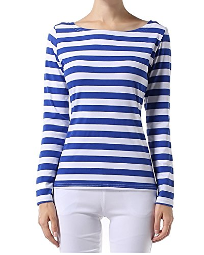 Blue Stripe T-shirt (OUGES Women's Long Sleeve Stripe Pattern T-Shirts(Blue White Stripe,S))