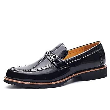 Ofgcfbvxd Pisos Holgazanes cómodos Casuales Brogue Oxfords de Cuero para Hombre, con tacón apilado bajo, Patentado, decoración con Zapatos de Cadena ...