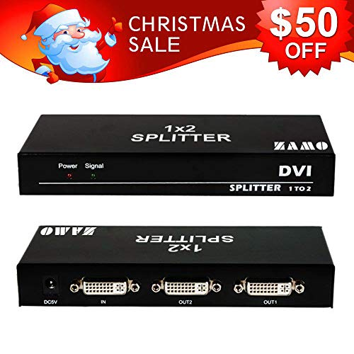 ZAMO 1x2 DVI Splitter Multiple Video Display Support 4K2K 3D,1 Input 2 Output DVI Distribution